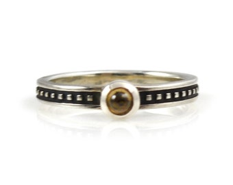 Sterling Silver Stack Ring With Smoky Quartz Size 6