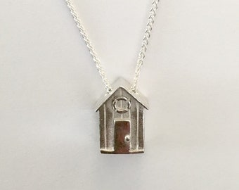 Sterling silver beach hut necklace
