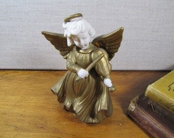 Ceramic Angel With Violin - Gold Painted