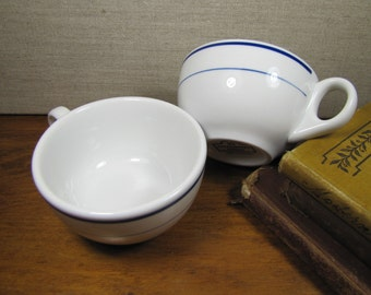Two (2) 10 Strawberry Street Restaurant Ware Coffee Cups - Dark Blue Bands - Made in Poland