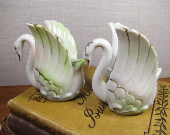 Ceramic and Porcelain Swan Candle Holders - Set of Two (2) - Made in Japan