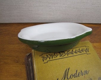 Vintage Hall Green and White Shallow Casserole Dish
