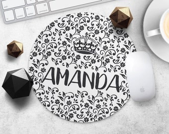 MousePad Custom Name Mouse Pad Print Personalized Mouse Mat Birthday Gift Mom MouseMat Round or Rectangular Flower MousePad Desk Accessories