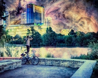 See You In The Sky - Limited Edition Canvas Print - Austin, TX Skyline and Orion Nebula