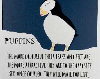 Love in the wild Papercut - Puffins