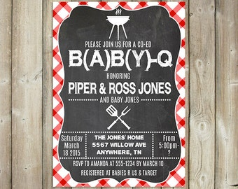 BABY Q Invitation - Coed Baby Shower Invitation - Backyard BBQ Baby Shower Invite - Digital File - Printable