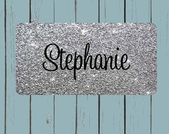 SILVER GLITTER(NOT actual glitter) License Plate-Monogram Car Tag Front License Plate Personalized Plate Circle Font