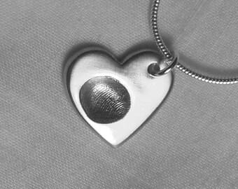 FINGERPRINT NECKLACE  Personalized Silver Fingerprint Necklace Charm Pendant