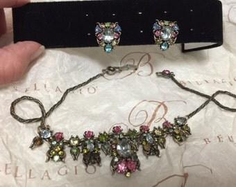 Vintage signed 1950 COPR, HOLLYCRAFT Neckace & Earrings Set