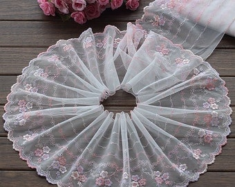 High Quality Pink Floral Embroidered Lace Trim  Tulle Lace Trim 7.48 Inches Wide 2 yards X0148
