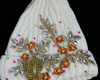 White Emblished Winter Hat