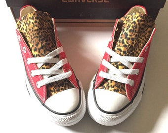 Cheetah Print Converse Shoes, Custom Red Converse, Cheetah Converse, Leopard, Animal Print Converse