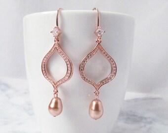 Rose gold earrings, Rose Gold Bridal earrings, Rose Gold Wedding jewelry, Rose Gold Drop Earrings, Long Wedding earrings Bridal jewelry,