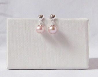 pink pearl little girl earrings sterling silver flower girl earrings with freshwater pearl little girl post earrings, flower girl gift