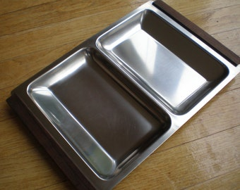 Mid Century Danish Nord Steel Divided Serving Dish Snack Tray Stainless Steel with Rosewood/Teak Handles