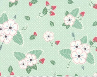 Bumble Berries Mint Floral from Moda by the yard