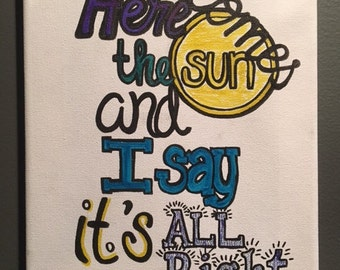 """Canvas Quote Art 8""""x10"""" """"Here comes the sun...."""" The Beatles"""