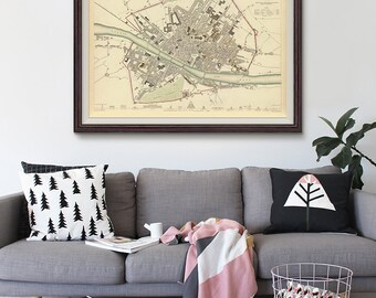 Florence Vintage Map 1835, Florence Map, Old map of Florence, Home Decor, Vintage Map- CP038