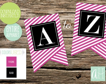 Printable Pennant Banner that includes entire alphabet: Fuschia and Black Striped (Instant Digital Download)