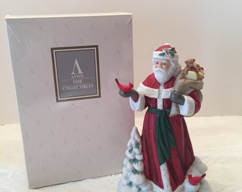 Avon Collectible ~ Santa Figurine ~ Santa with Toys and Red Birds ~ Porcelain ~ Fine Collectible ~ 1990's Vintage