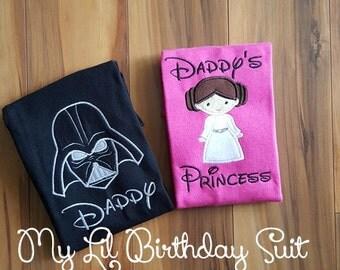 Star Wars Daddy Princess Disney Shirts Darth Vader and Princess Leia - Age can be added Free Personalization