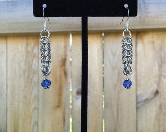 Full Persian Royal Blue Crystal Dangle Earrings