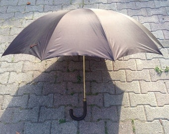 Former umbrella Switzerland brass & leather Vintage Brown