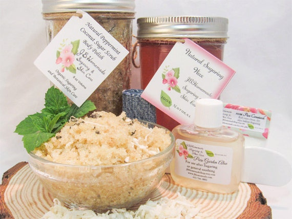 Sugaring Wax & Peppermint Coconut Sugar Scrub Bundle