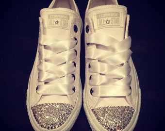 SWAROVSKI CONVERSE- White Low Tops for Women- Chuck Taylors- Clear Swarovski Crystals with White Lace!