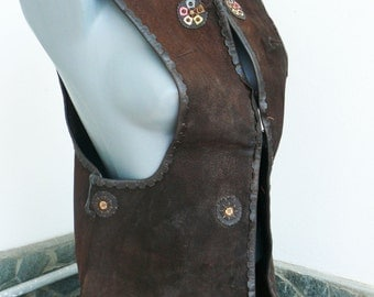 Rare Collectibles old Bulgarian retro genuine leather vest with ethnic motifs, rustic, folklore, tradition