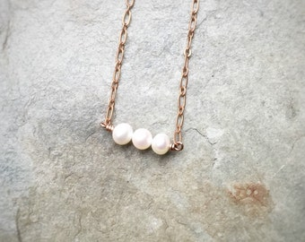 Dainty 3 Freshwater Pearl Copper Necklace