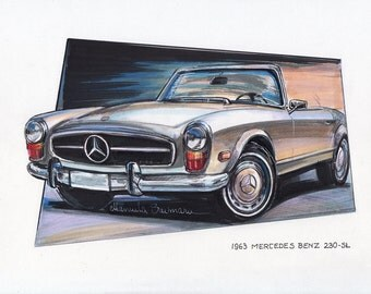 1963 Mercedes Benz 230 SL Painting Luxury Car Illustration Automotive Print Expensive Automobile Art Office Home Wall Decor Gift Collection