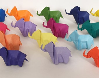 Set of 20 Baby Origami Elephants on Colorful Paper