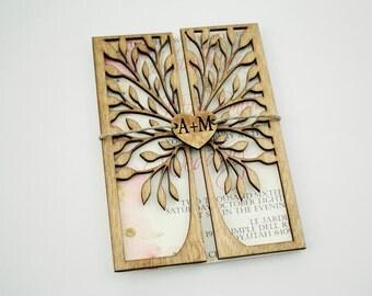 Rustikale Hochzeitseinladung, Einladung Holz, Papier Einladung, Freisteller  Baum, Baum Des Lebens,