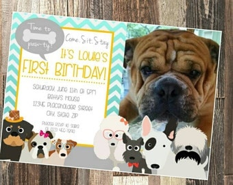 Dog birthday invitation - Pet birthday invite - DIY Printable File