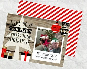 Personalized Holiday Card - Have Your SELFIE a merry little christmas - DIY Printable File - Quick Turnaround - red accent