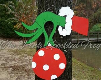 Grinch door hanger Christmas door hanger wood door hangers