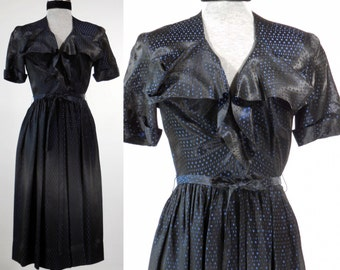 Vintage 1940s rayon day dress /dinner dress /black with royal blue accent size small