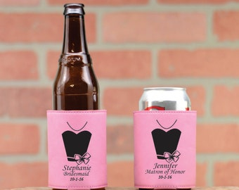 Leather Wedding Dress Can Coolers. Personalized Can Coolers. Wedding Party Favors. Custom Leather Can Cozie. Beer Kozy. Beverage Cooler