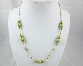 Green Freshwater Pearl Necklace Handmade Gold Plated 18 inch Necklace