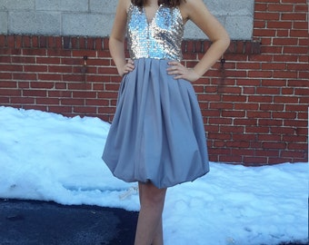 Vintage 1970's Silver-Sequened Bubble Dress