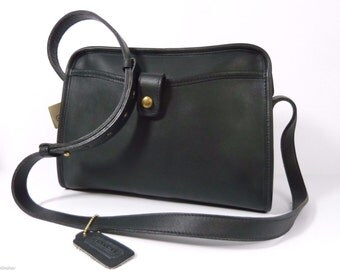 New COACH Vintage Fulton Bag #9898 Black Leather Shoulder Bag 1992 United States