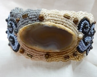 "Bracelet cuff style bead embroidery beaded ""agate slice grey cream light blue"""