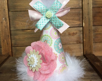 Shabby chic kids party hat