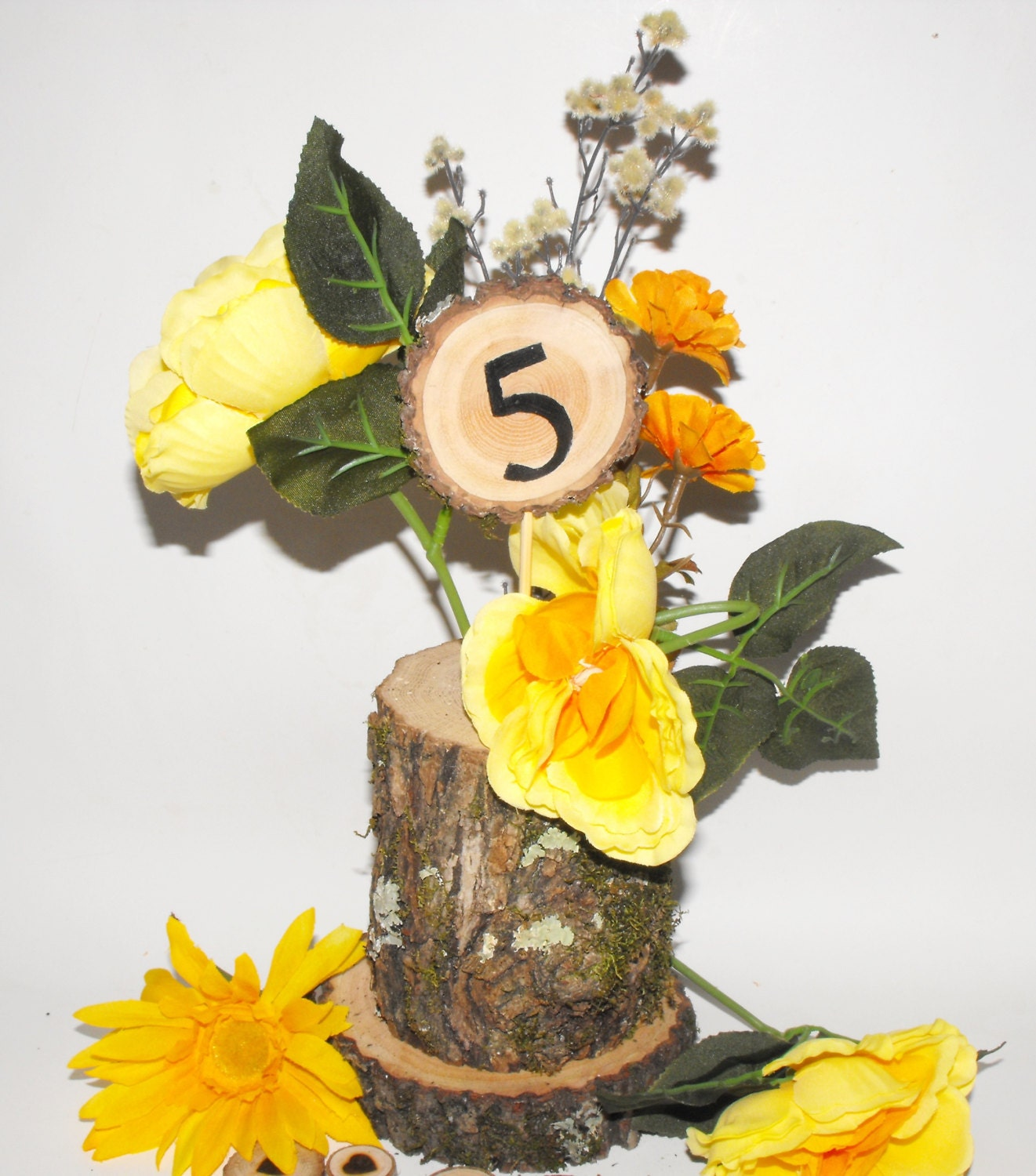 Rustic log centerpiece vases customized tree by ozarkcraftwood