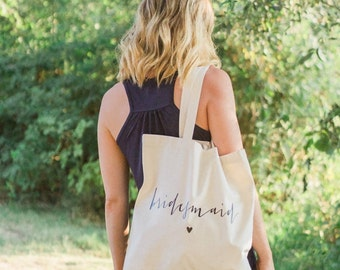 bridesmaid gift/bridesmaid tote bags/customizable tote bag/ bridal party gift bag/bachelorette party bags