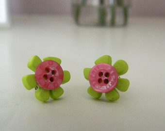 Polymer Clay Green Flower Button Earrings