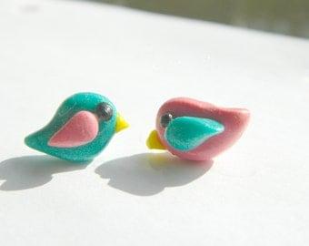 Handmade Polymer Clay Bird Earrings