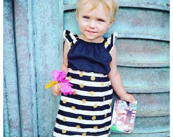 Girls striped dress, black and gold, polka dots, stripes, formal dress, baby girl dress, birthday outfit, picture outfit