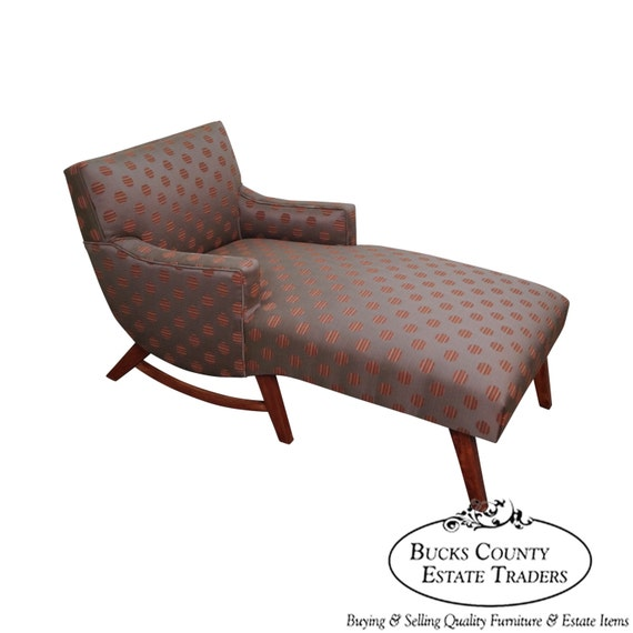 Mid century modern 1950s upholstered chaise lounge w new for 1950 chaise lounge